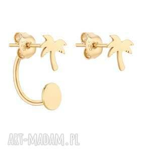 złote asymetryczne kolczyki z palmami - złote kolczyki, pozłacane