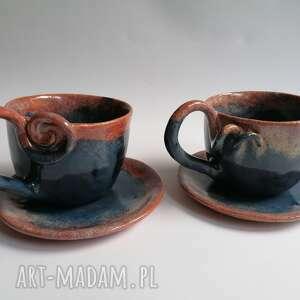 evaart komplet - malinowo granatowo, ceramika rękodzieło, filiżanki z gliny