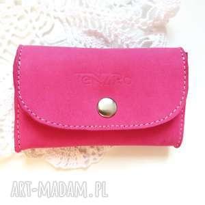 tenaro portmonetka skórzana mini z zatrzaskiem różowa, portmonetka, prezent