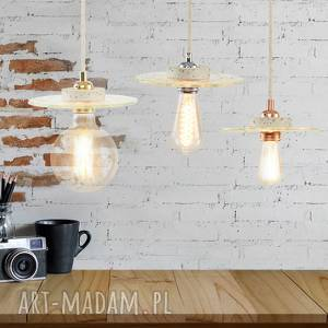 lampa loft, lampa, oświetlenie ze szkła, wisząca złota