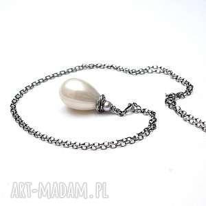 Powder pearl vol. 2 -naszyjnik, srebro, perły, oksydowane