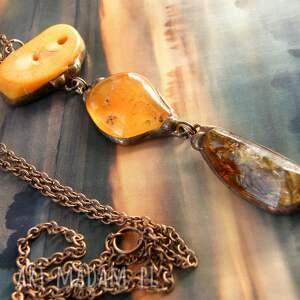 hand-made naszyjniki długi naszyjnik wisiorek chwost pomarańczowy z karneolem