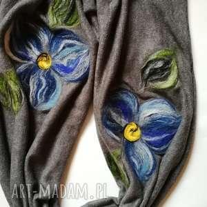handmade szaliki szary szal damski zimowy z wełną merynosów - komin ciepły długi szyty
