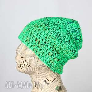 neonowa czapka zielona z włóczki beanie 014, czapka, kolorowa wełniana