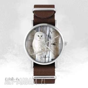 zegarek - biała sowa brązowy, nato, zegarek, bransoletka, sowa, nato