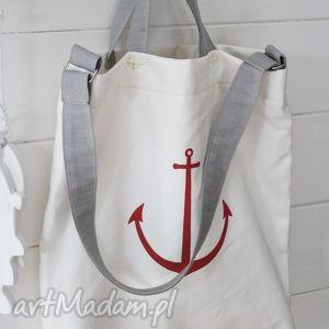 na ramię letnia torba, torebka, damska, plażowa, zakupy, kotwica