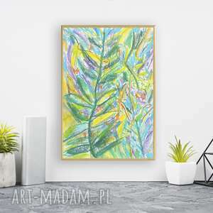 kolorowy rysunek w ramce, dżungla obrazek, oprawiony szkic, zielony obraz