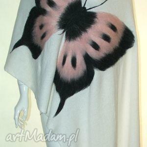 szal wełną zdobiony - motyle, wełna, prezent, filcowanie