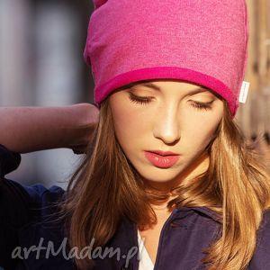 wygodna ciepła czapka różowy melanż - ciepła, wygodna, bawełniana