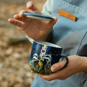 hand made kubki kubek artystyczny z zaparzaczem - zakochane borsuki