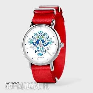 hand-made zegarki zegarek, bransoletka - ptaszki folkowe, niebieskie czerwony, nato
