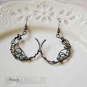 bohemian lace - kolczyki z kryształkami, kolczyki, miedzi, na prezent, wire
