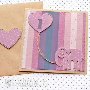 ręczne wykonanie kartki kartka na roczek - słonik