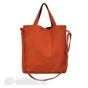 16-0025 Pomarańczowa duża torebka damska z paskiem na ramię JAY, duże-torebki-damskie