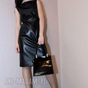 Skórzana sukienka / czarna - GIULIANA, ekoskóra, skórzana-sukienka