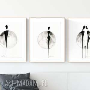 Zestaw 3 grafik 30x40 cm wykonanych ręcznie, abstrakcja
