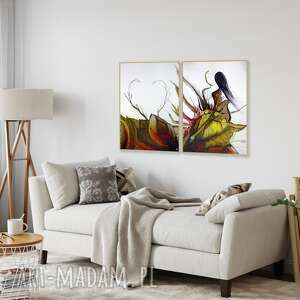 zestaw 2 obrazów 50x70 cm wykonanych ręcznie, abstrakcja, 2619646, obraz ręcznie