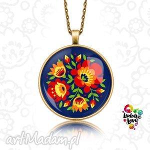 handmade naszyjniki medalion okrągły kwiaty
