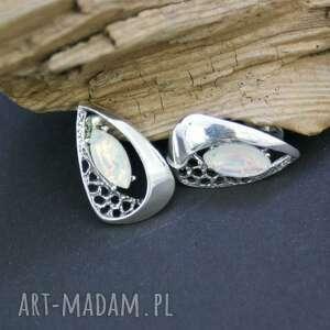 kolczyki opal w srebrze, kolczyki, srebrne, ażurowe, opal, wkrętki, piękne