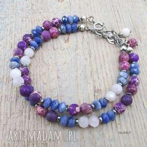 fioletowo-niebieska z przekładkami, jaspis, kunzyt, sodalit, srebro, bransoletka