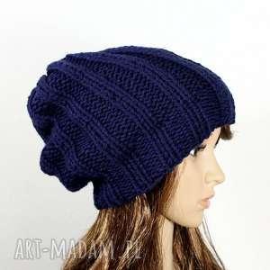 ręcznie wykonane czapki czapka unisex zimowa robiona na drutach granatowa dziergana