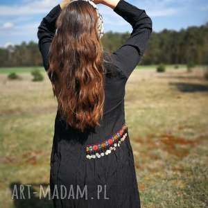czarna etniczna sukienka z koralikami boho, sukienka, etno, koraliki, oversize