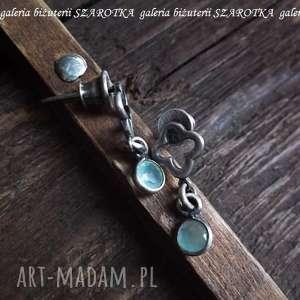 PRYWATNE OCZKA WODNE kolczyki z amazonitu i srebra, amazonit, srebro, oksydowane
