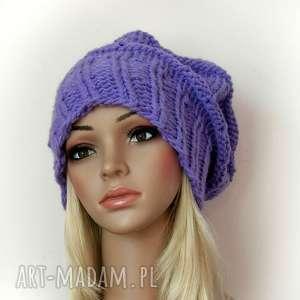 ciepła czapka - fioletowa (gruba ozdobna, modna)