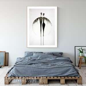 Grafika 70 x 100 cm wykonana ręcznie, abstrakcja, elegancki