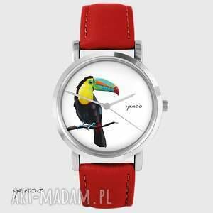 handmade zegarki zegarek - tukan czerwony, skórzany