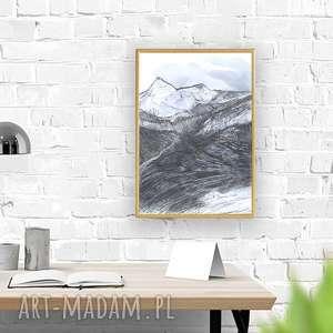 Oprawiony czarno-biały obraz, pejzaż górski, nowoczesny rysunek z górami