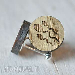 hand-made spinki do mankietów dębowe bardzo męskie