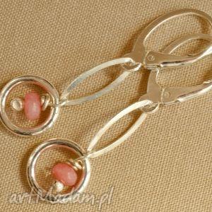 Kolczyki z różowego agatu i srebra, tilia, pastelowe, delikatne, kobiece, lekkie
