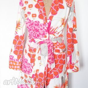płaszcz damski kolorowy we wzory - płaszcz, wiosna, drukowane, etniczne, kolorowe