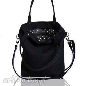 handmade torebki prostokątna czarna torebka z grubej plecionki