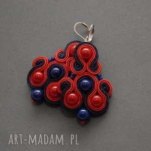 sisu granatowo-czerwone klipsy sutasz, sznurek, eleganckie, wiszące, granatowe