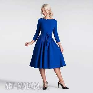 livia clue sukienka marie 3/4 midi szafir, sukienka, rozkloszowana, midi, pasek