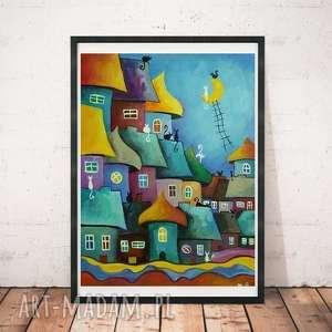 BAJKOWE MIASTECZKO KOTÓW obraz akrylowy -format 30/40cm, abstrakcja, domki, akryl
