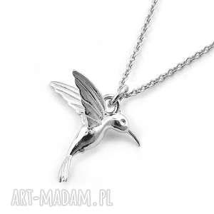 Srebrny naszyjnik KOLIBER, srebrny, naszyjnik, koliber, 3d, modny, ptaszek