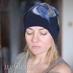 ręcznie robione czapki czapka wełniana damska granat