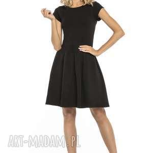 Elegancka sukienka z zakładkami, T254, czarna, sukienka, elegancka, dół
