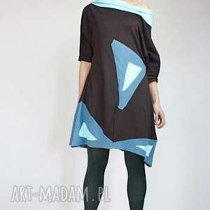 kaira-sukienka, kolorowa, bawełniana, dresowa, trapezowa, luzna, wygodna, święta