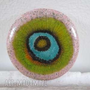 broszka ceramiczna z oczkiem - broszka, kolorowa, unikatowa, na prezent
