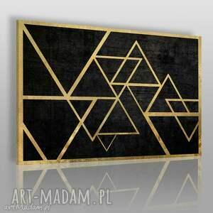 obrazy obraz na płótnie - trójkąty złoto 120x80 cm 34601, trójkąty, geometryczny