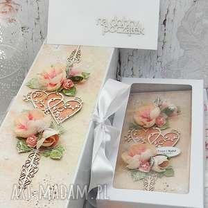 Komplet ślubny-kartka pudełko na wino koperta ślub papierowa