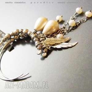srebro, kolczyki - naturalne perły, hematyty, koła