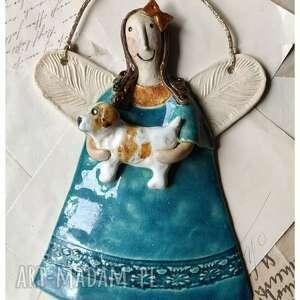 aniołek ze szczeniakiem, ceramika, anioł, pies, szczeniak