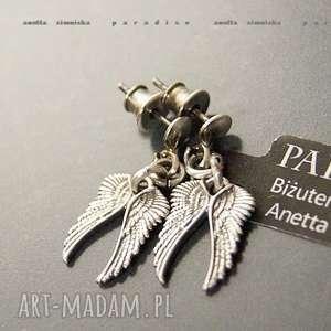 srebro, kolczyki srebrne aniołki, skrzydła, zawieszki