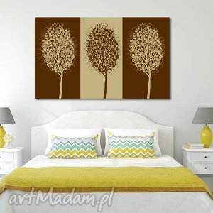 obraz xxl drzewo 11 - 120x70cm na płótnie brąz beż