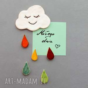 chmurka i krople-magnesy ceramika, minimalizm, kolekcjoner, skandynawski, design